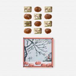 """Boite de 12 marrons glacés  - Dessin  """"hiver"""" par Raymond Stab"""