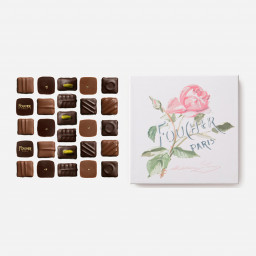 "Assortiment de chocolats 250 g - Boite ""Rose"" dessinée par Madelaine Lemaire"