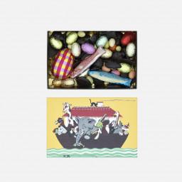 Assortiment de friture au chocolat, d'œufs au praliné et d'œufs à la ganache.