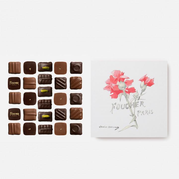 """Assortiment de chocolats 250 g - Boite """"Œillets"""" dessinée par Louise Abbema"""