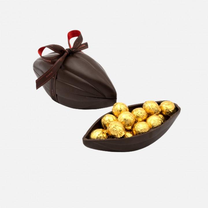 Cabosse garnie de chocolats au praliné amande - 350g